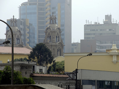 After a safe arrival in Lima we enjoyed views of the Miraflores section of Lima from the rooftop of our hostel. We stayed at Kusilla's Backpackers. It was a really excellent hostel. We found it through http://www.hostelworld.com .