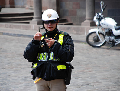 We're often asked if it is dangerous traveling in South America. Well, as you can see the Policia Nacional were in full force everywhere in Peru ready to protect the easily preyed upon tourist. Pat took it upon himself to photograph as many of the female police officers as he could find.