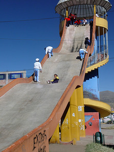 Weeeeeeeee!!!!! This giant slide was a hit with the families. The little girl at mid-slide was clocked at 30mph on the radar gun. Talk about 'hot pants'!