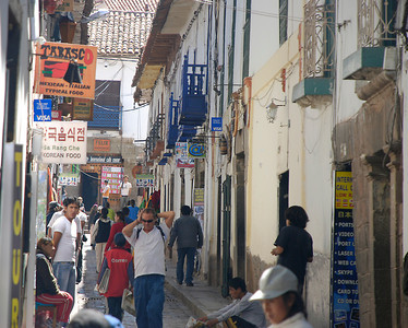 A typical walking street in the center of Cuzco.