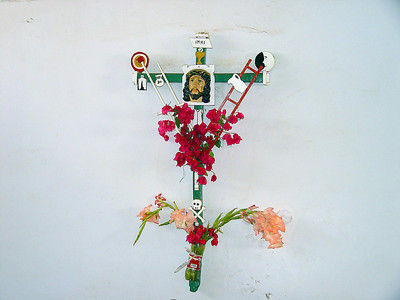 We never did get an explanation as to the meaning behind the symbols on the cross, but we thought it was an interesting mix of traditional Catholic and pagan symbols.