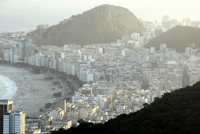 Big old Rio. This is Copacabana. Our hotel is somewhere down there one block from the beach.