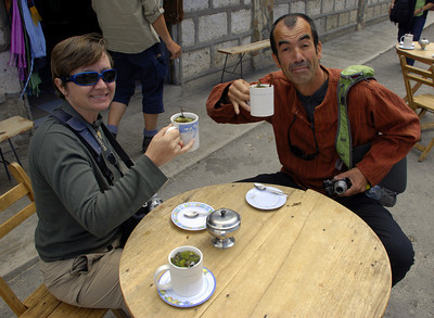 Iain, Carrie and Pat drank a tasty tea called 'Triple' to help combat altitude sickness. The tea was brewed from coca leaves with two more herbs that we can't remember. We were near 15,000' at this point.