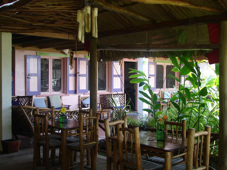 After settling into our room at the Casa Rosada Hotel, we were ready for lunch. This picture is of the dining area near our room. The food was great. We ordered the delicious local specialty, Tapado, which consists of : coconut, curry, fish, shrimp, shellfish, coconut milk, plantain and spiced with coriander.