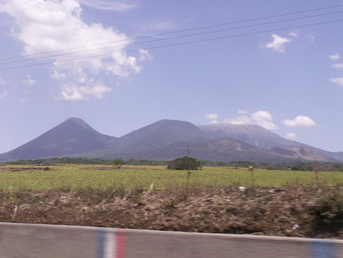 There are many volcanoes in Central America. These 3 are, from left to right, Izalco, Cerro Verde and Santa Anna.