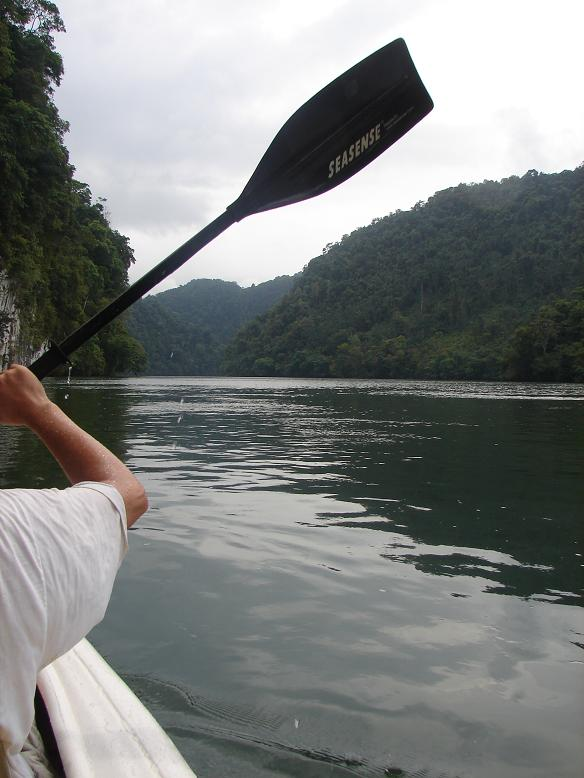 After three wonderful days at Finca Tatin we finally had to say goodbye. But, instead of taking the lancha down the Rio Dulce to Livingston we opted to kayak down. The folks at Finca Tatin brought our backpacks down with their lancha and took the kayaks back. This part of the river narrows and is lined by tall, jungle covered cliffs. Where possible thatched roofed homes were built near the water. We were joined by another couple we met at Finca Tatin from Switzerland and Japan.