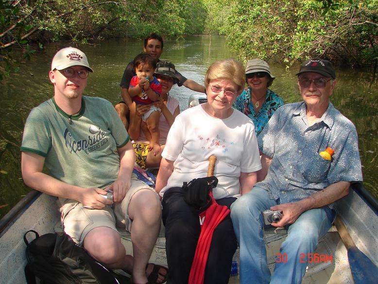 Our friend Santos took all of us for a panga ride into the mangroves with his wife and son.
