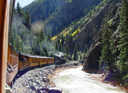The Steam Locomotive between Durango and Silverton. We took the ride with Carrie's parents and brother. The views all the way to Silverton were beautiful. The aspens were just changing and the air was crisp and clear.