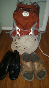 Shoes, daypack and hat