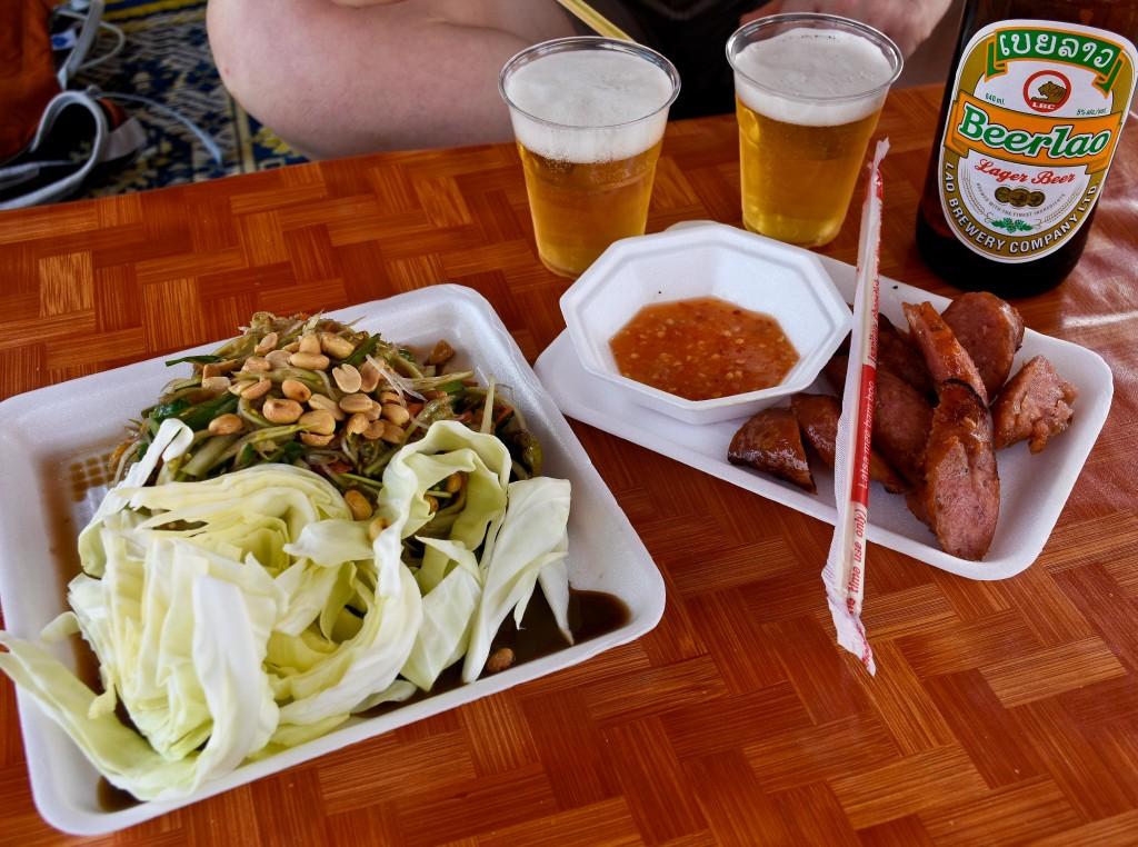 Mmmm! Lao sausage and green papaya salad.