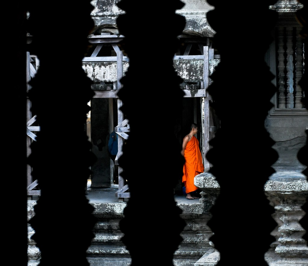 We spied a monk entering one of the chambers. They're very shy. We were lucky to even get this shot.
