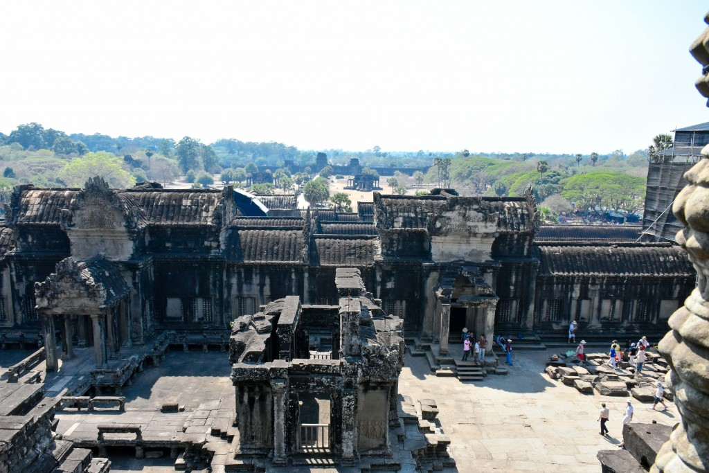 A view from the highest point in Angkor Wat. This should say really big to you, because the place was really big. This is looking out towards the entrance and outer wall.