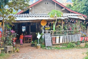 Our favorite eatery in Nong Khiaw, Laos. It's nothing to look at, but it made up for that with good food and nice people.