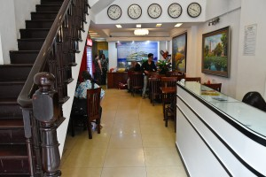 The reception area for our hotel in Hanoi, Vietnam. We generally never paid more than $20US for a room.