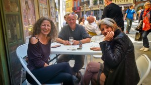 Hanging out with Karine, Arantxa, and Carrie on a beautiful Sunday afternoon in Perpignan center for Aperro Time. I guess it was an extended Aperro time as more than a few bottles of wine were consumed. Fun time!