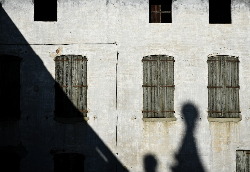 A building, shadows, and Southern France light. Ille Sur Tet, France.