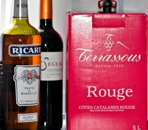 The stash. Vin rouge and Ricard.