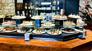A sampling of the pintxos at Sagardi's. Amzaing food and drink, but it was all about the atmosphere. Electric!