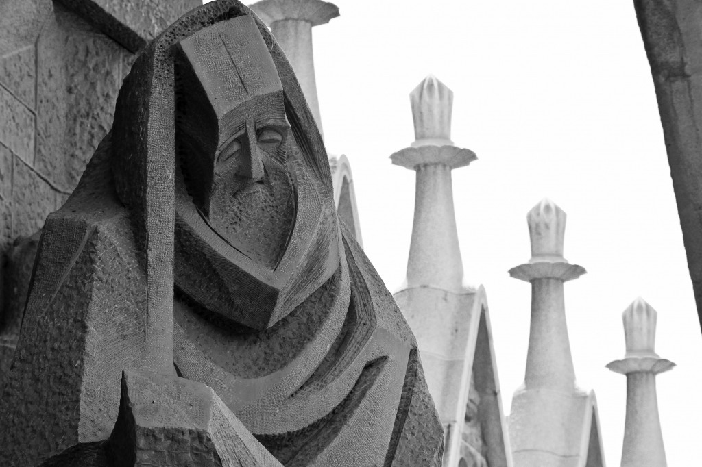 As very sad fellow. Must have had a bad day at work. Sagrada Familia exterior.